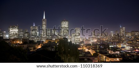 San Francisco California City Skyline Office Building Panoramic Scene from Coit Tower - stock photo