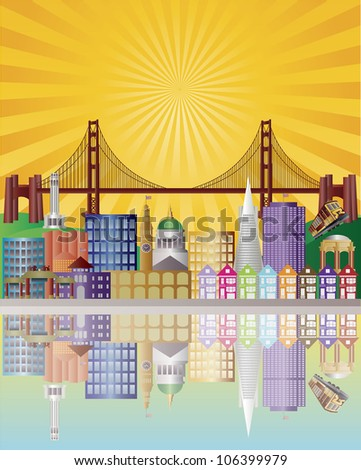 San Francisco California City Skyline with Golden Gate Bridge with Sunrise Background Raster Vector Illustration - stock photo