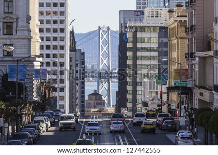 SAN FRANCISCO, CALIFORNIA - JAN 14: View of California Street tourist area. San Francisco's 80% hotel occupancy has pushed average room rates above $155 per night on Jan 14, 2013 in San Francisco, Ca. - stock photo