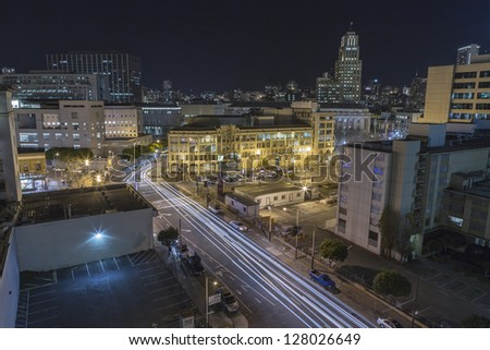 SAN FRANCISCO, CALIFORNIA - JAN 15: View of Market Street tourist area.  San Francisco's 80% hotel occupancy has pushed average room rates above $155 per night on Jan 15, 2013 in San Francisco, Ca. - stock photo
