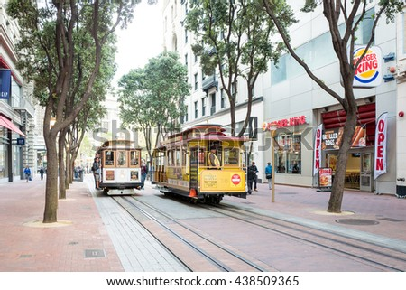 San Francisco, California - June 13th, 2016: Powell Hyde cable car, an iconic tourist attraction. The San Francisco cable car system is the world's last manually operated cable car system. - stock photo