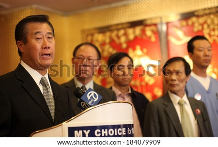 SAN FRANCISCO, CALIFORNIA � MAY 7, 2011 � California State Sen. Leland Yee kicks of his campaign for San Francisco mayor in 2011. Yee has been indicted by federal agents on arms trafficking charges.