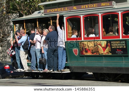 SAN FRANCISCO, CALIFORNIA - OCTOBER 23: The San Francisco cable car on October 23, 2006 in San Francisco, California. The cable car system is the worlds last manually operated cable car system.  - stock photo