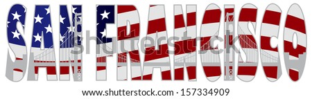 San Francisco California Text Outline Silhouette with Golden Gate Bridge with US American Flag Background Raster Illustration - stock photo