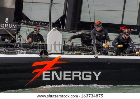SAN FRANCISCO, CALIFORNIA, USA - AUGUST 22, 2012: Team Energy race in Louis Vuitton Cup part of America's Cup World Series on August 22, 2012 in San Francisco Bay, California - stock photo