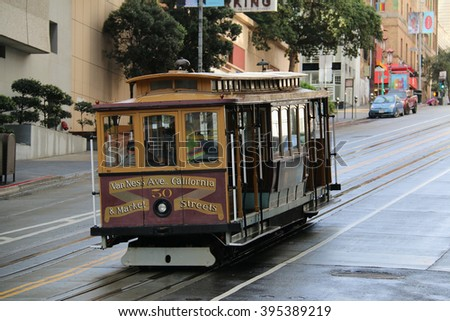San Francisco, California, USA - December 24, 2015: The San Francisco cable car system, an icon of San Francisco, is the world's last manually operated cable car system.