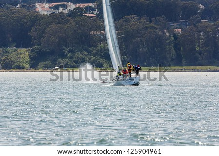 SAN FRANCISCO, CALIFORNIA/USA - MAY 8 2016: Sailors get very close to blowing mother Gray Whale and baby, critically endangered species, making an unusual appearance in San Francisco Bay with skyline  - stock photo