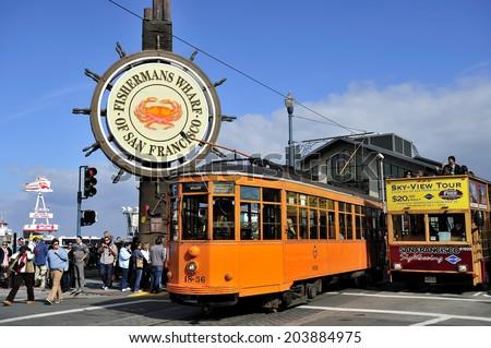 SAN FRANCISCO, California, USA, - NOVEMBER. 12. 2011: Streetcar and Fisherman's Wharf, San Francisco, California - stock photo