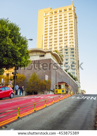 San Francisco, California, USA - November 10, 2015: The San Francisco cable car system, an icon of San Francisco, is the world's last manually operated cable car system - stock photo