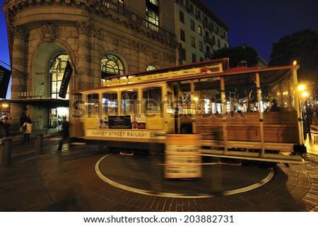 SAN FRANCISCO, California, USA, - NOVEMBER. 9. 2011: turn table of cable car. San Francisco's cable car is world's last manually-operated system, icon of San Francisco - stock photo