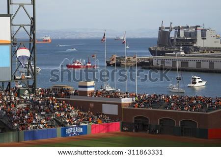 San Francisco, California, USA, October 16, 2014, AT&T Park, baseball stadium, SF Giants versus St. Louis Cardinals, National League Championship Series (NLCS) - stock photo