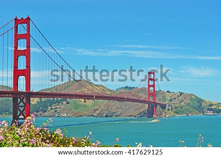San Francisco, California, Usa: panoramic view of Golden Gate Bridge on 9 June 2010. The Golden Gate Bridge, opened in 1936, became the symbol of the city of San Francisco in the world