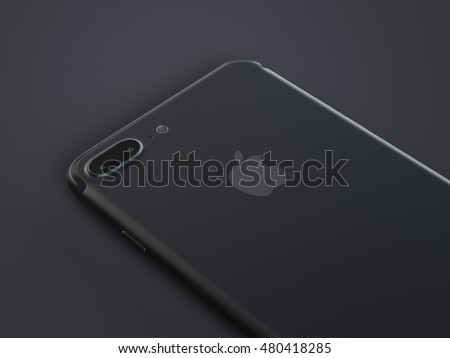 San Francisco, California, USA - 7 September, 2016: 3d render of back view iPhone 7 Plus black color. The iPhone 7 Plus is new smart phone produced by Apple Computer, Inc.