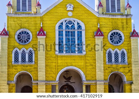 San Francisco church in Castro, Chiloe island. The majority religion in Chile is Christianity (68%), with an estimated 55% of Chileans belonging to the Catholic church. - stock photo