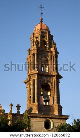 San Francisco Church Steeple, Bells, San Miguel de Allende, Mexico - stock photo