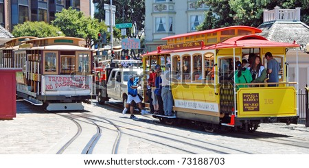 SAN FRANCISCO - CIRCA JUNE 2009: Cable car tram circa June 2009 in San Francisco, USA. The San Francisco cable car system is world last permanently operational manually operated cable car system.