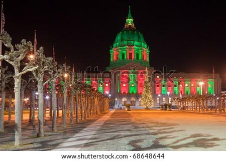San Francisco city hall illuminated in Christmas colors. - stock photo