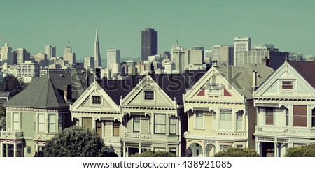 San Francisco city skyline with urban architectures viewed from Alamo Square. - stock photo