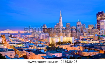 San Francisco cityscape and city lights at dusk - stock photo