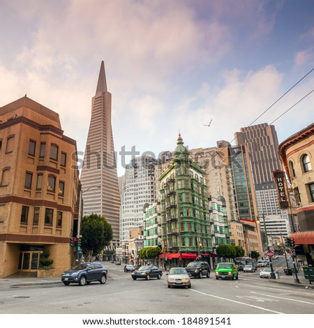 San Francisco cityscape at twilight - stock photo