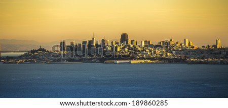 San Francisco cityscape from Golden Gate Bridge. - stock photo