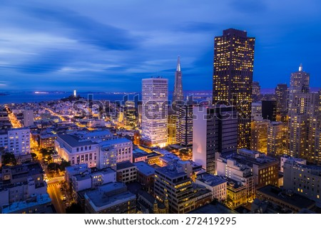San Francisco cityscape looking over the financial district - stock photo