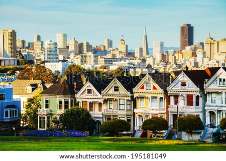 San Francisco cityscape with the Painted Ladies as seen from Alamo square park - stock photo