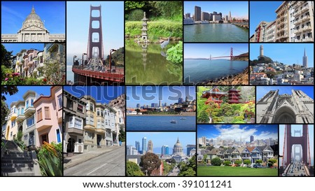 San Francisco collage - photo collection with Nob Hill, Telegraph Hill, Grace Cathedral and Golden Gate Bridge. - stock photo