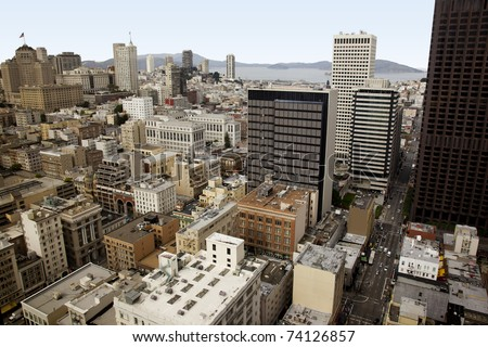 San Francisco downtown, a view from above, showing the apartment and office buildings in the center of this beautiful american city - stock photo