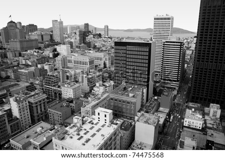 San Francisco downtown, a view from above, showing the apartment and office buildings in the center of this beautiful american city, in black and white - stock photo