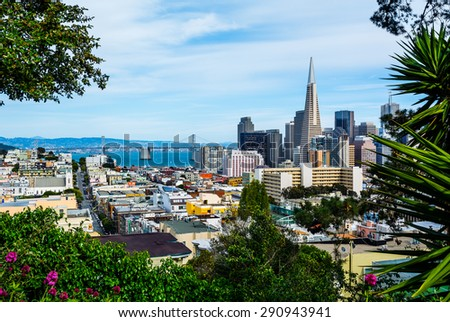 San Francisco downtown and Bay Bridge - stock photo