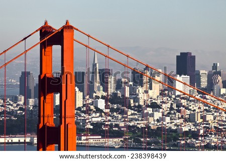 San Francisco Downtown and Golden Gate Bridge - stock photo