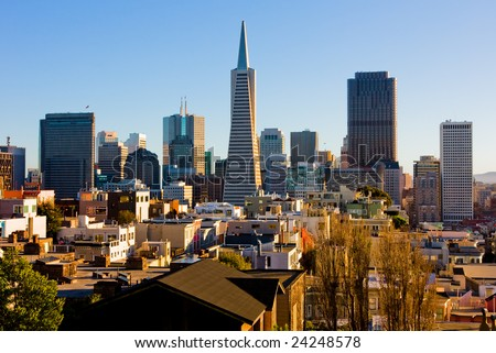 San Francisco downtown at sunset - stock photo
