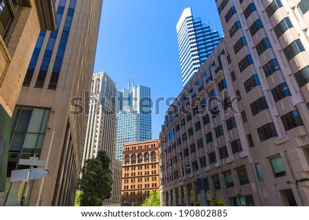 San Francisco downtown buildings in California USA - stock photo
