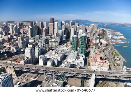 San Francisco Downtown, California aerial view - stock photo