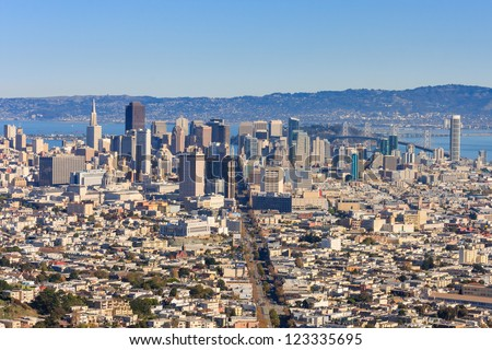 San Francisco Downtown seen from Twin Peaks - stock photo