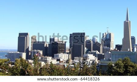 San Francisco Downtown Skyline over the park - stock photo