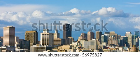 San Francisco Downtown Skyline with Beautiful Clouds. - stock photo