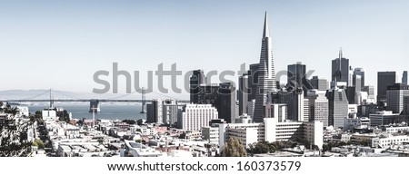 San Francisco downtown skyline with bridge - stock photo