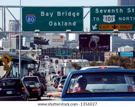 San Francisco downtown traffic. - stock photo
