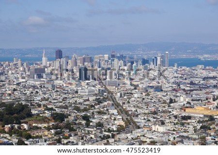 San Francisco downtown view from Twin Peaks, California