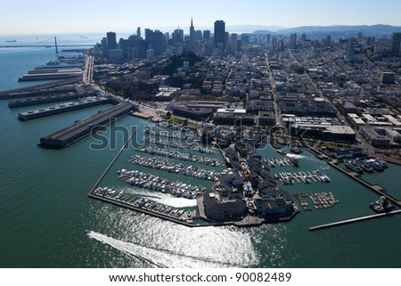 San Francisco Downtown with Embarcadero aerial view - stock photo