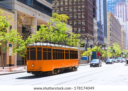 San Francisco F line in Market Street downtown California USA originally served in Milan Italy - stock photo