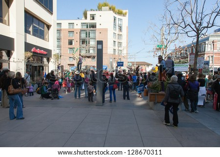 SAN FRANCISCO - FEBRUARY 17: Massive Forward on Climate rally at One Market Plaza on February 17, 2013 in San Francisco, California.