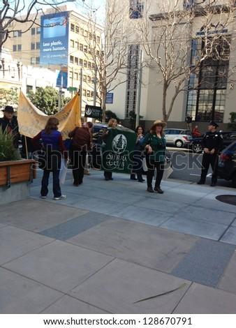 SAN FRANCISCO - FEBRUARY 17: Massive Forward on Climate rally at One Market Plaza on February 17, 2013 in San Francisco, California. - stock photo