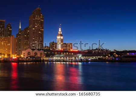 San Francisco Ferry building and eastern waterfront and roadway of the Port of San Francisco. - stock photo