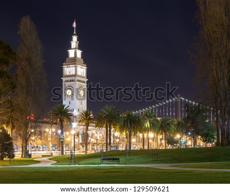 San Francisco Ferry Building at night. - stock photo