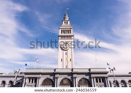 San Francisco Ferry Building, Sky and Clouds - stock photo