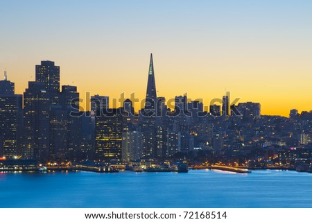 San Francisco financial district at sunset, United States of America - stock photo