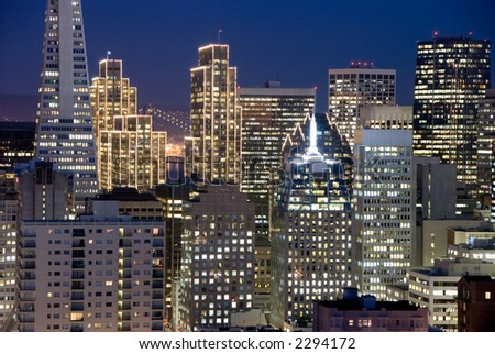 San Francisco Financial District Buildings at night (with Christmas lights)